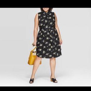 Floral Print Mid Rise Sleeveless Shirt dress